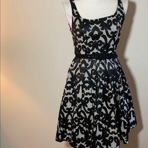 Eva Franco Black and Tan Jacquard Fit &Flare Dress